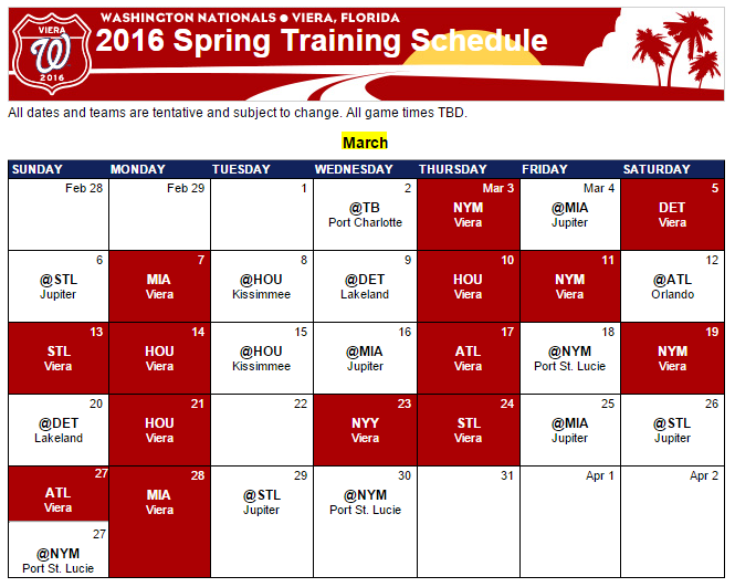 Nats_Spring Training Schedule