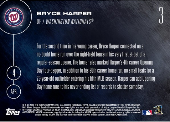 bryce harper Topps Now Opening Day card back