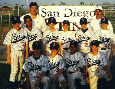 Stephen  Strasburg (top left) and Mike  Leake (top, fourth from left) led the San Diego Sting into the 11-under nationals in 1999. <a rel=