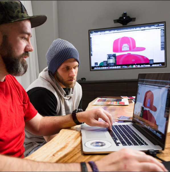 Bryce Harper with New Era cap designer Shawn Curtin